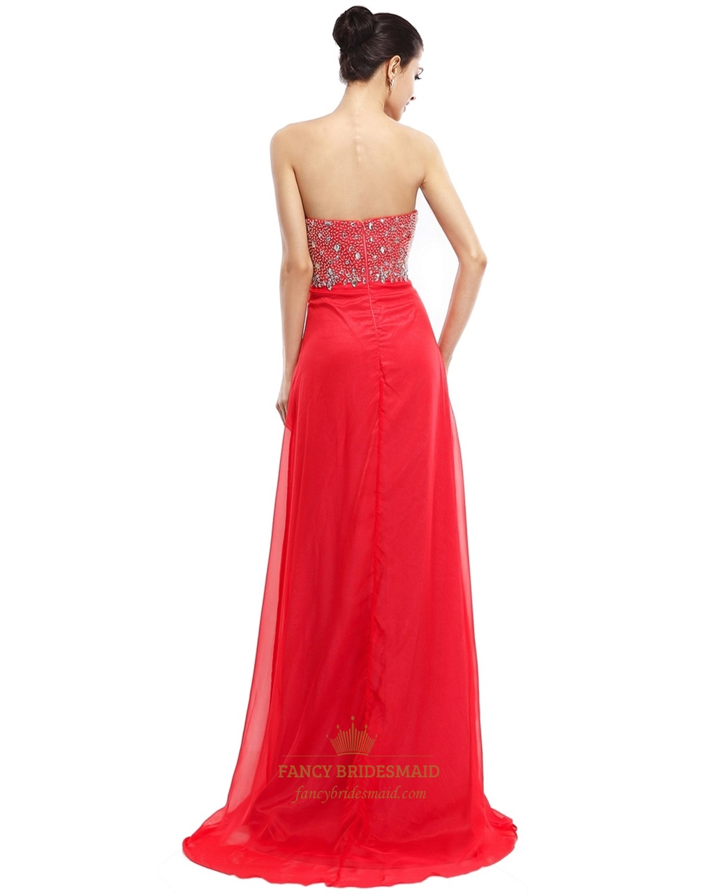 Red Short Strapless Asymmetrical Bridesmaid Dresses With Flower Detail Fanc