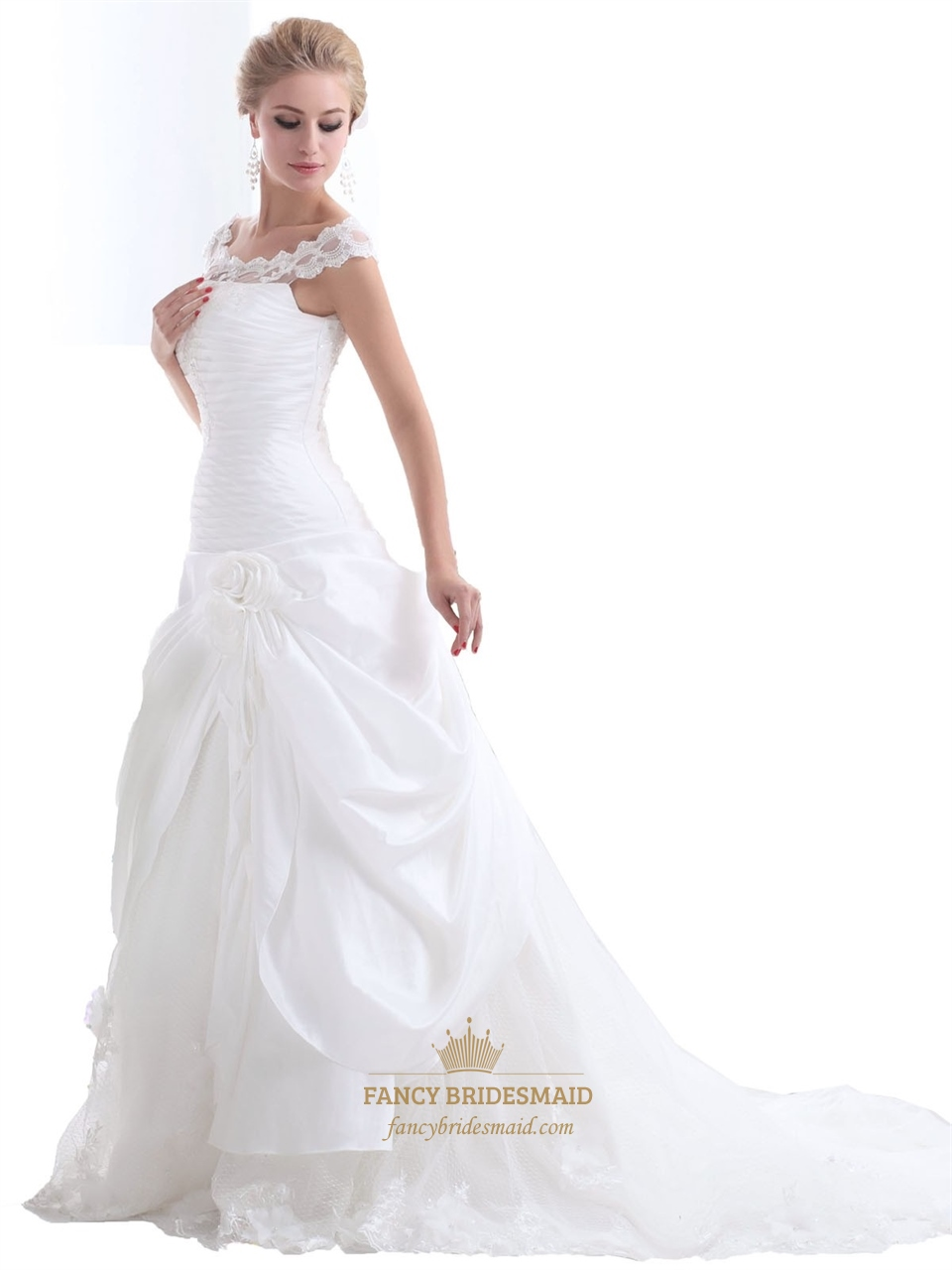 White a line illusion neck side draped wedding dress lace for Side draped wedding dress