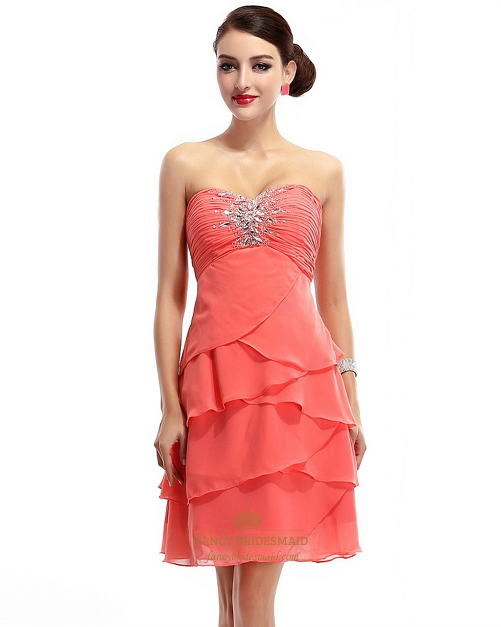 eeffc2acd47 Coral Beaded Strapless Short Chiffon Bridesmaid Dress With Layered Skirt  SKU -NW653