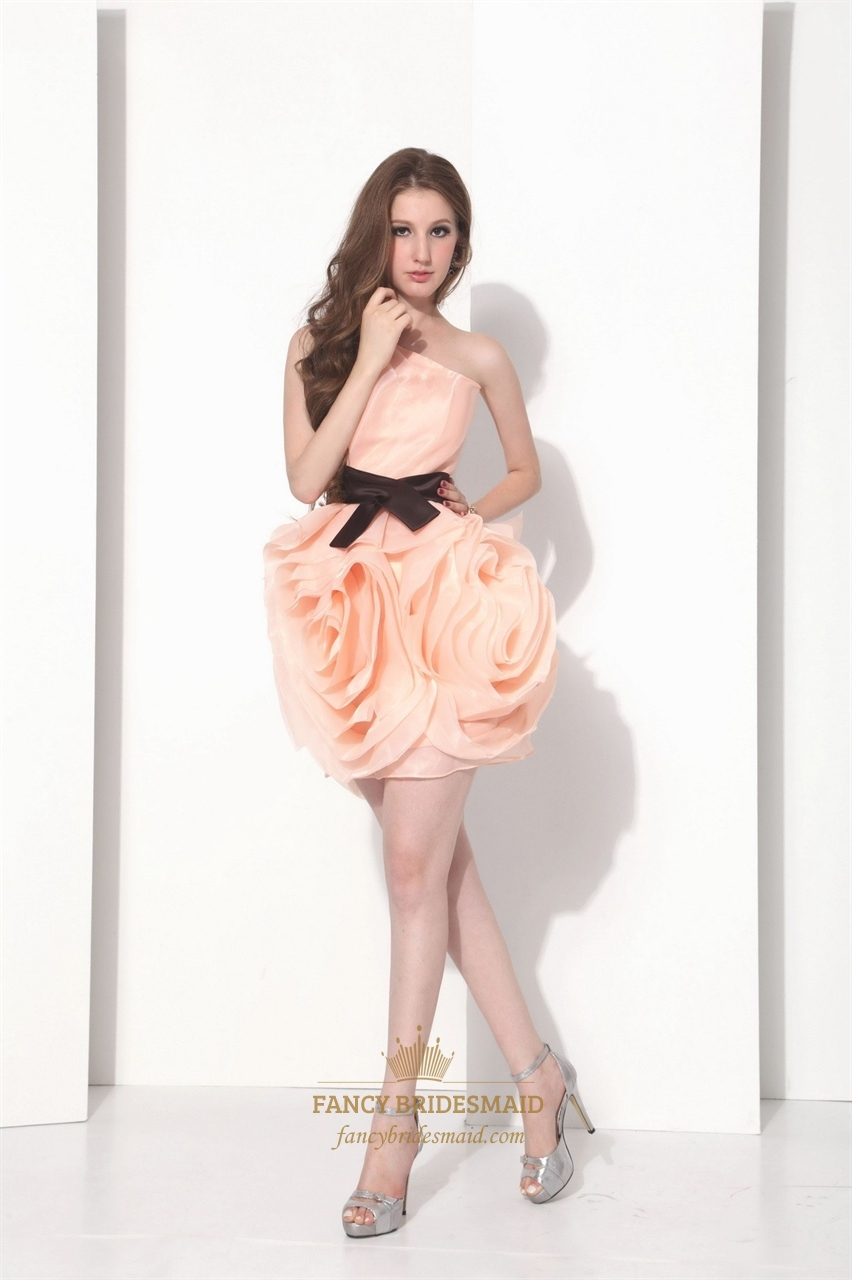 21557aff34a Peach Short One Shoulder Organza Bridesmaid Dress With Black Belt ...