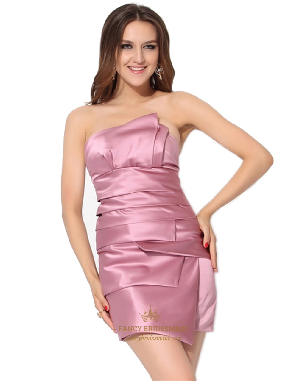 Pink Strapless Embellished Ruched Sheath Mini Satin ...