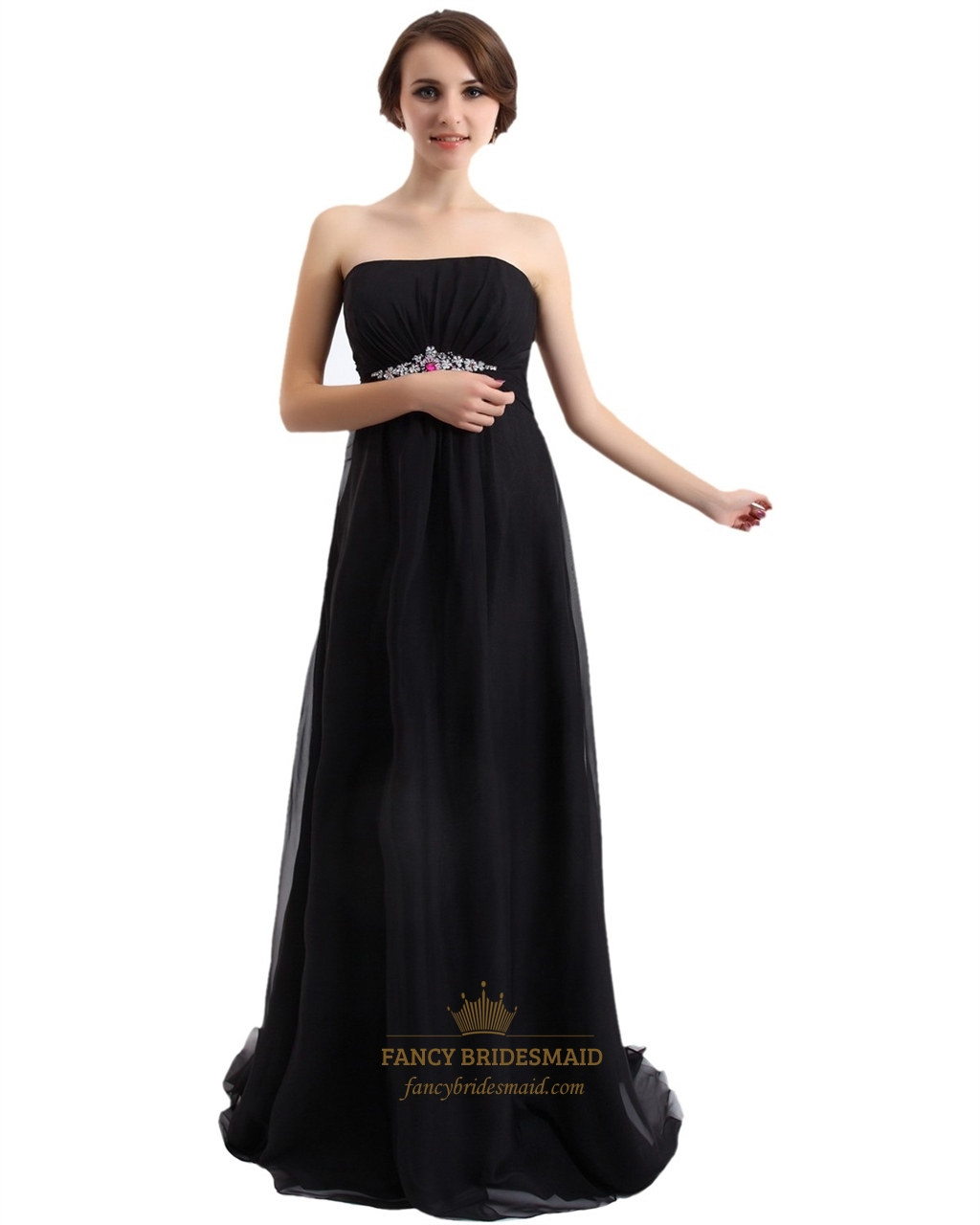 Black Strapless Chiffon Empire Bridesmaid Dress Long With