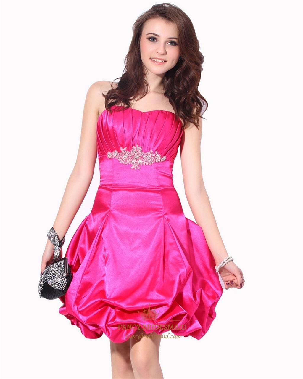 d9c8ecc7c1 Hot Pink Strapless Beaded Taffeta Cocktail Dress With Bubble Skirt SKU  -NW668