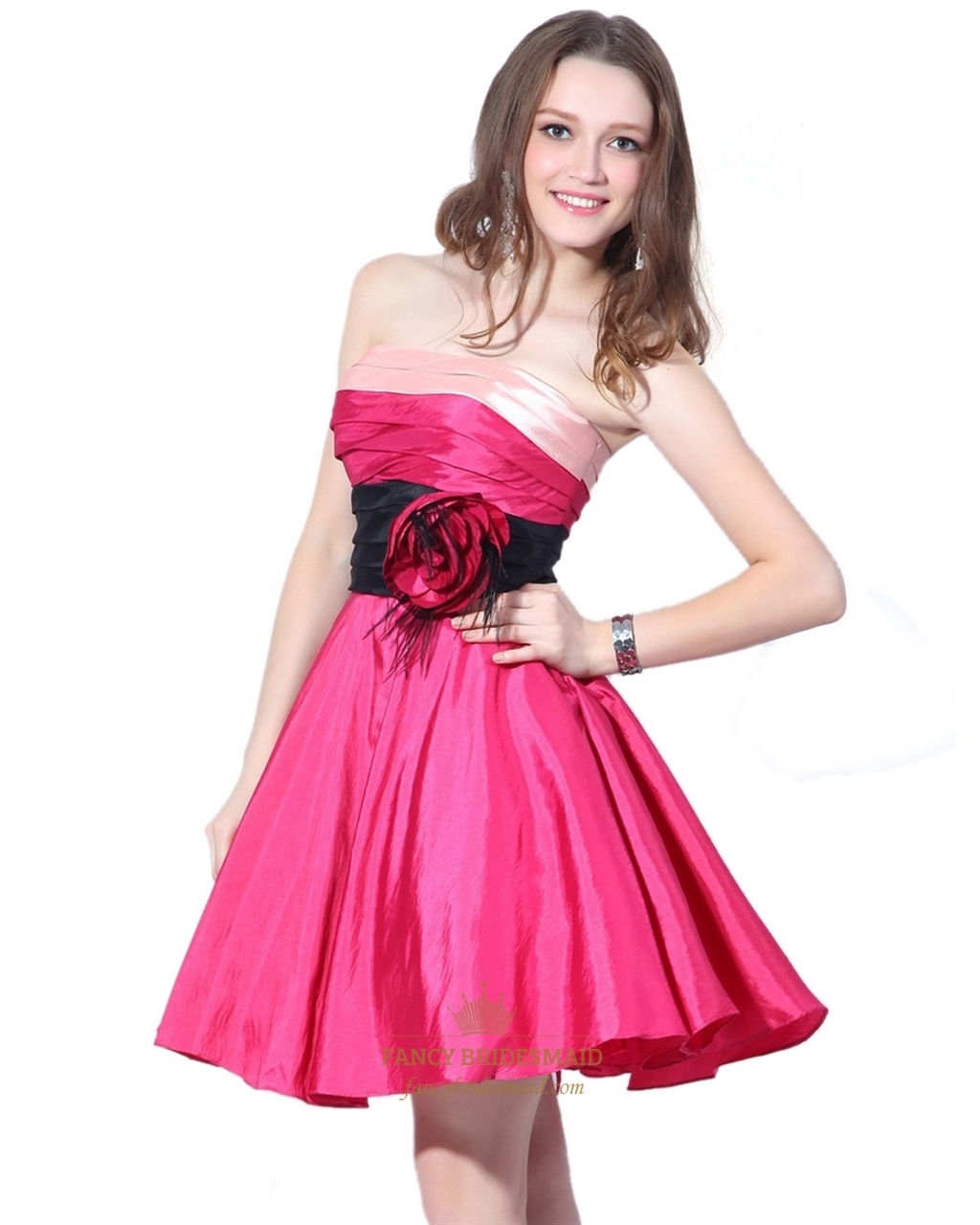 Hot Pink Strapless Cocktail Dress | Fancy Bridesmaid Dresses