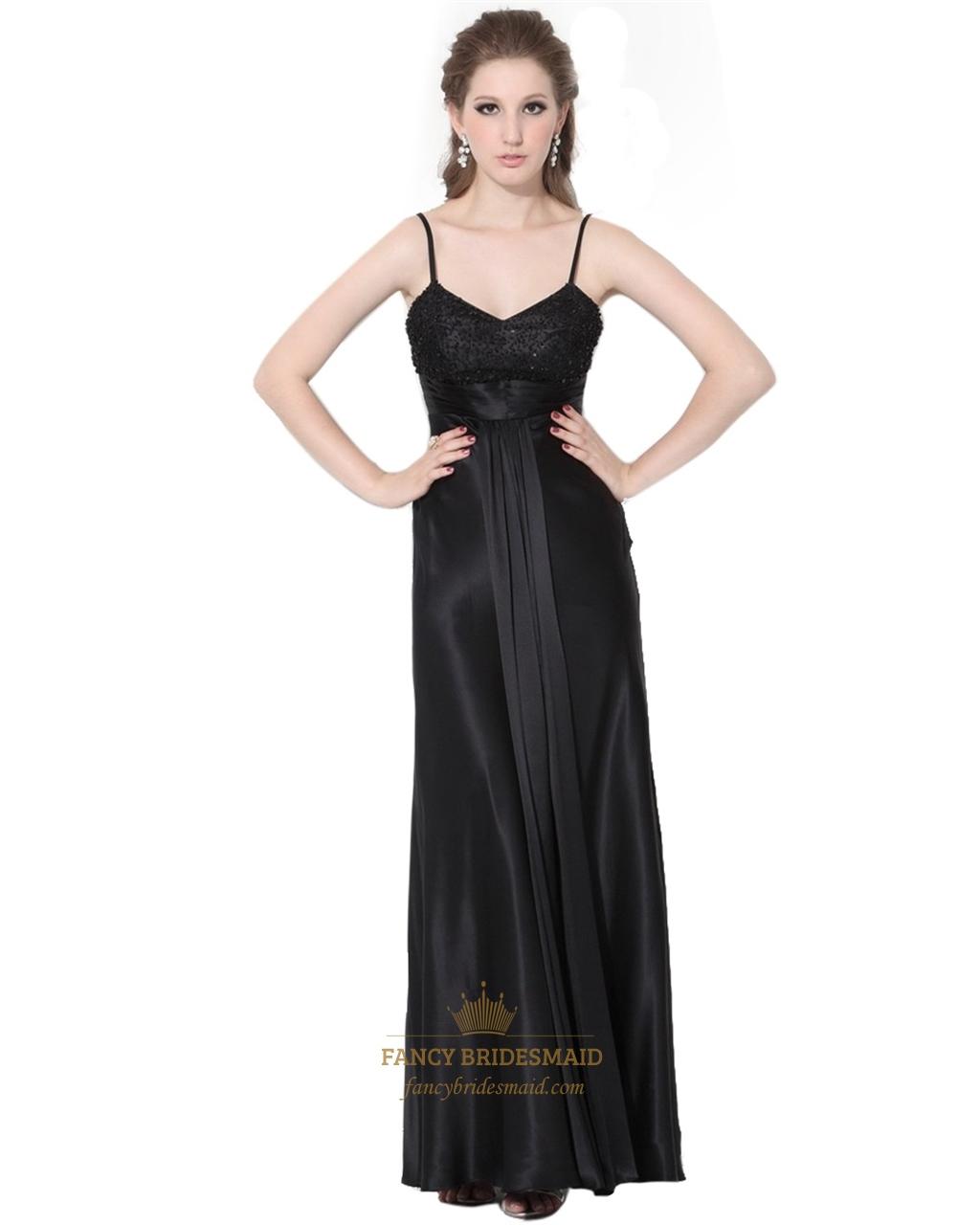 Elegant Black A Line Spaghetti Straps Beading Long Prom