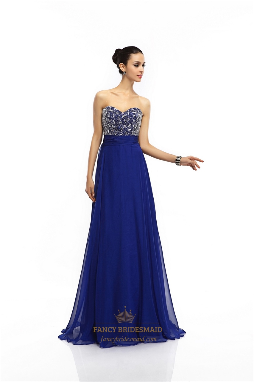 royal blue chiffon sweetheart beaded bodice prom