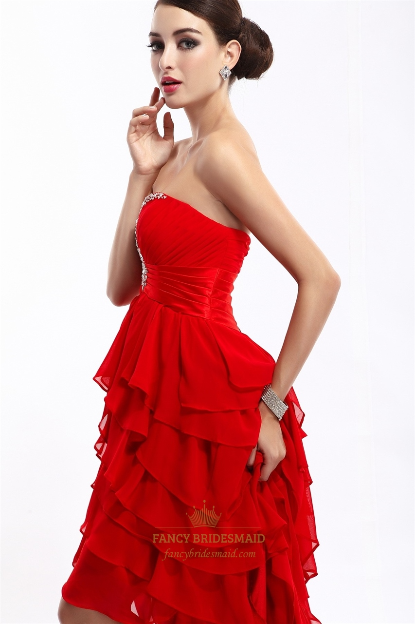 Red Strapless Chiffon High Low Beaded Prom Dress With ...