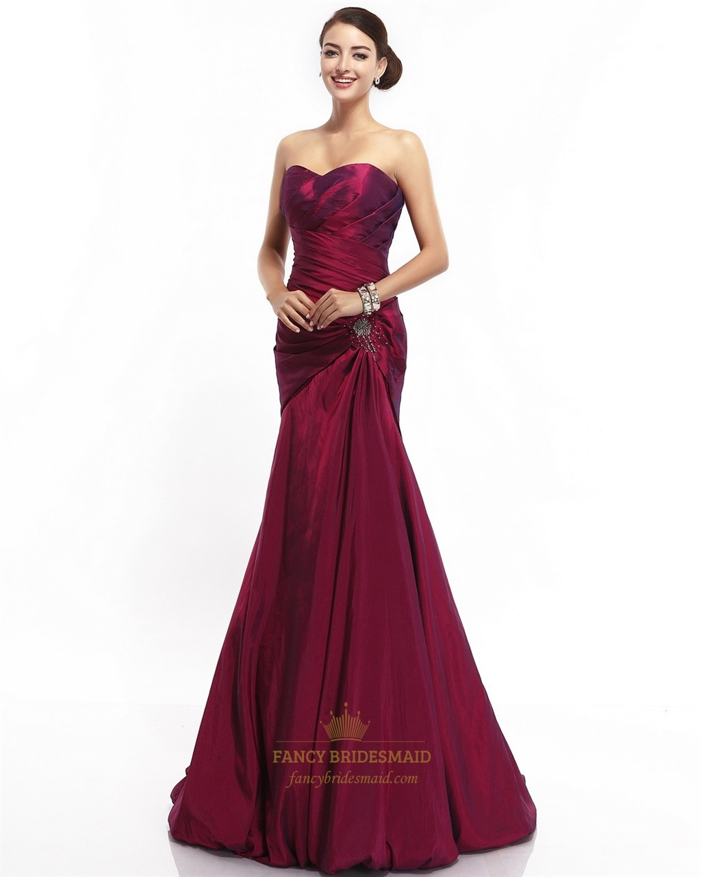 7a59c751e8b Burgundy Mermaid Strapless Taffeta Beaded Prom Gown With Draped Bodice SKU  -NW683