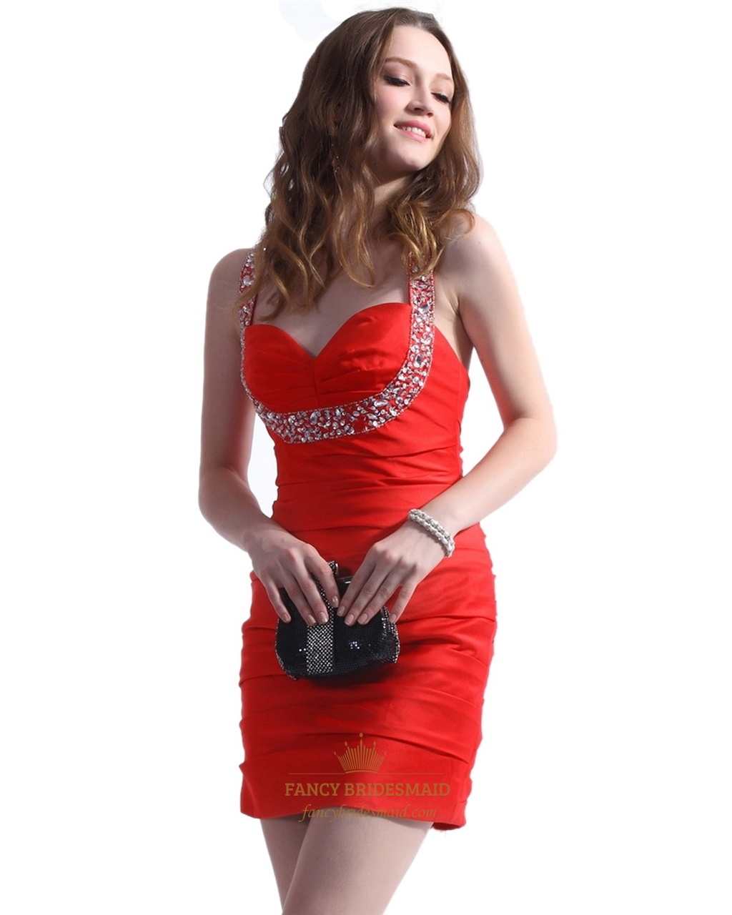 Short Red Cocktail Embellished Ruched Cocktail Dresses With Beading ...
