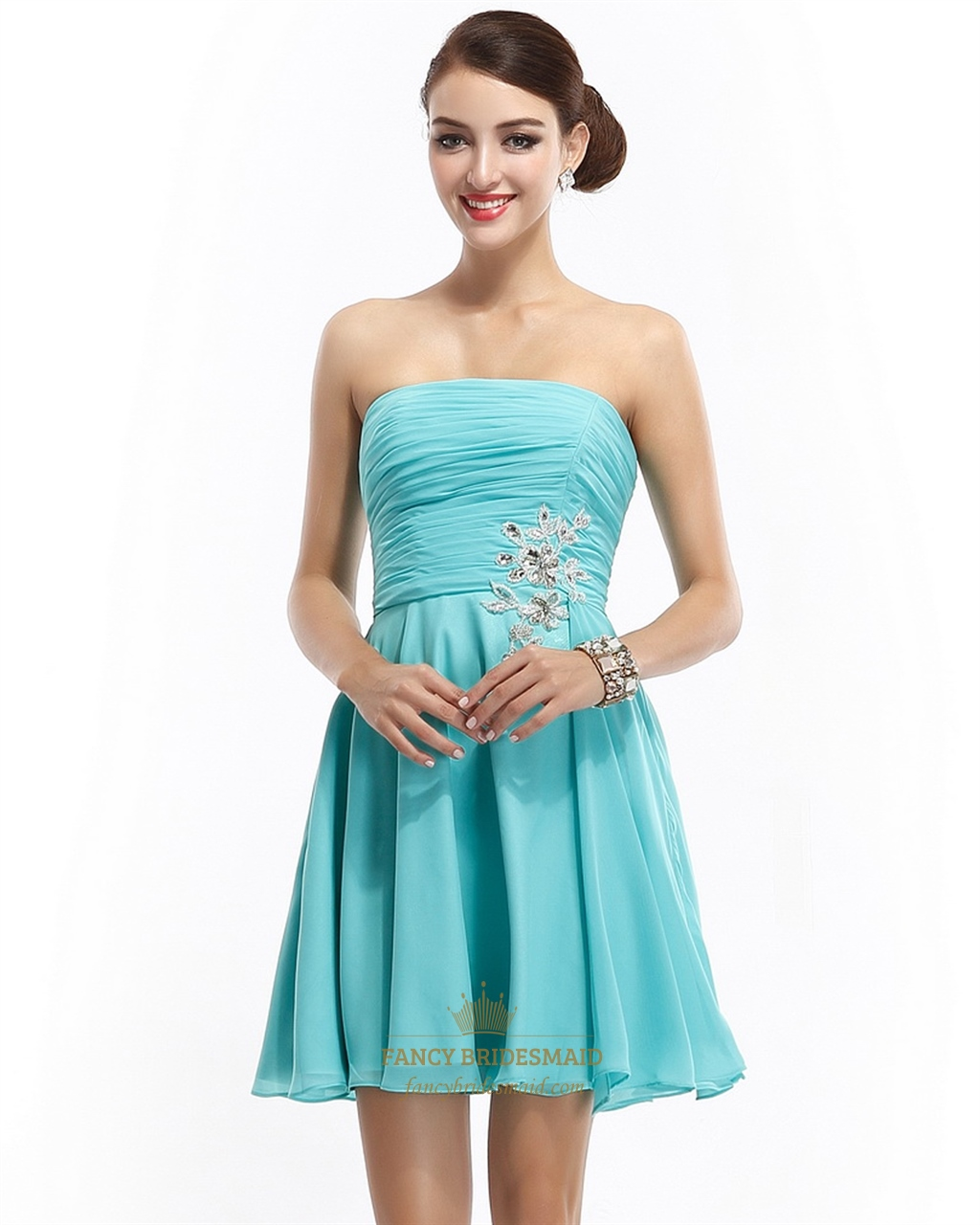 aqua blue strapless short chiffon bridesmaid dress with