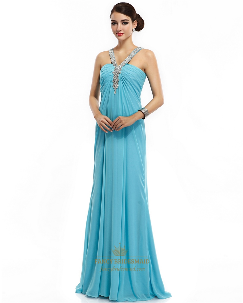 5af924bd70a Blue Criss-Cross A-Line Empire Chiffon Prom Dress With Beaded Straps SKU  -NW695