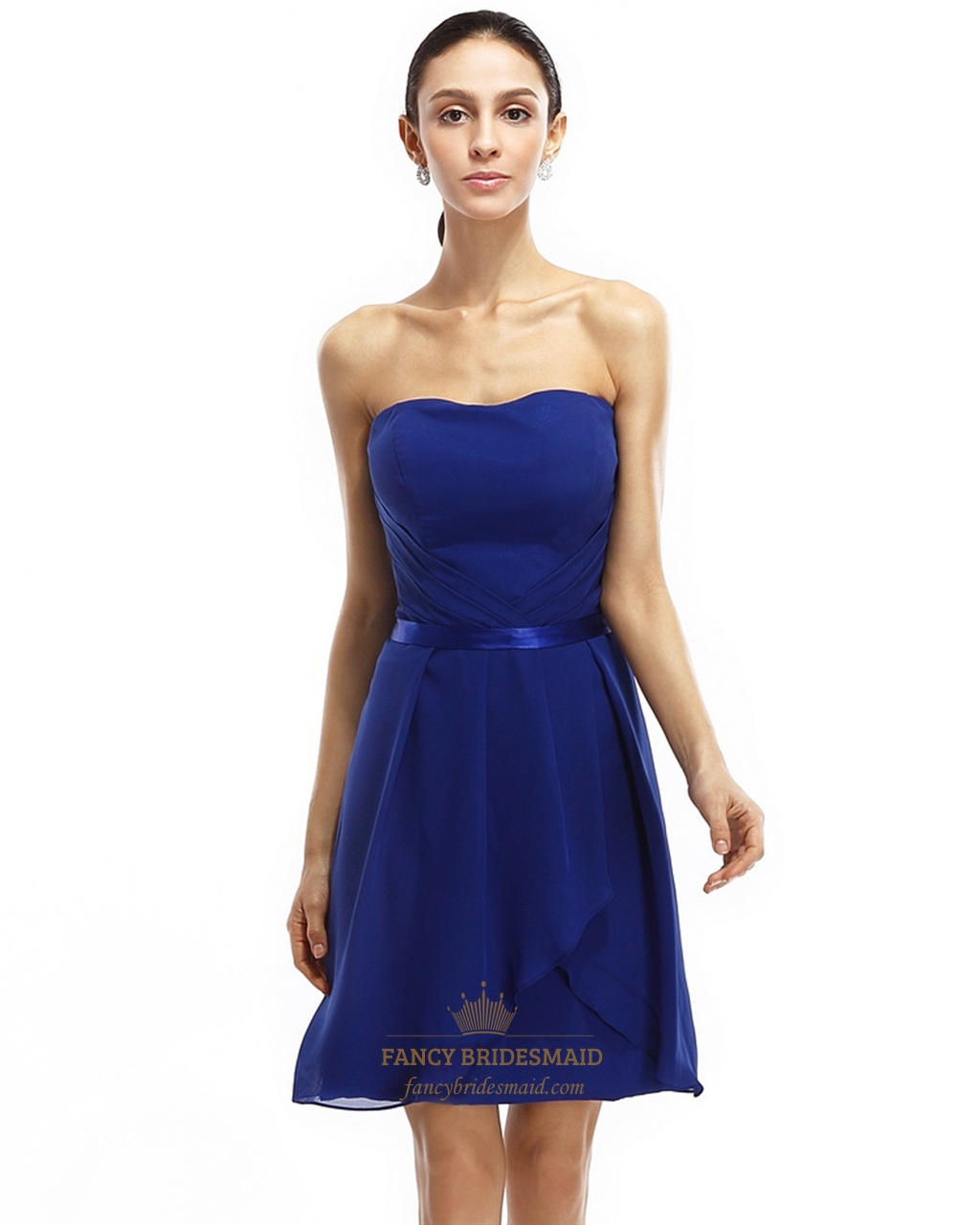 Royal Blue Strapless Chiffon Short Bridesmaid Dresses With ...