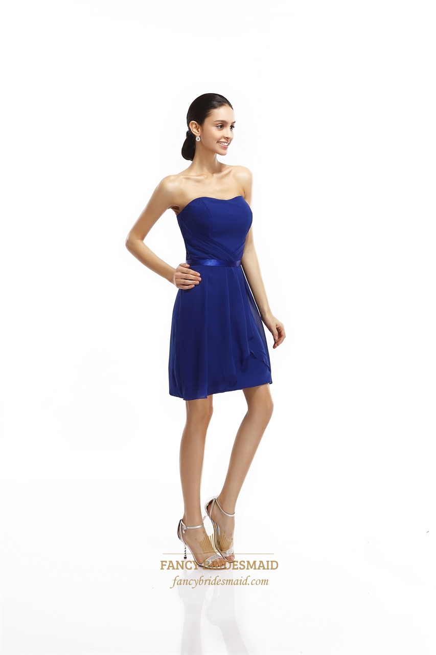Royal blue strapless chiffon short bridesmaid dresses with for Royal blue short wedding dresses