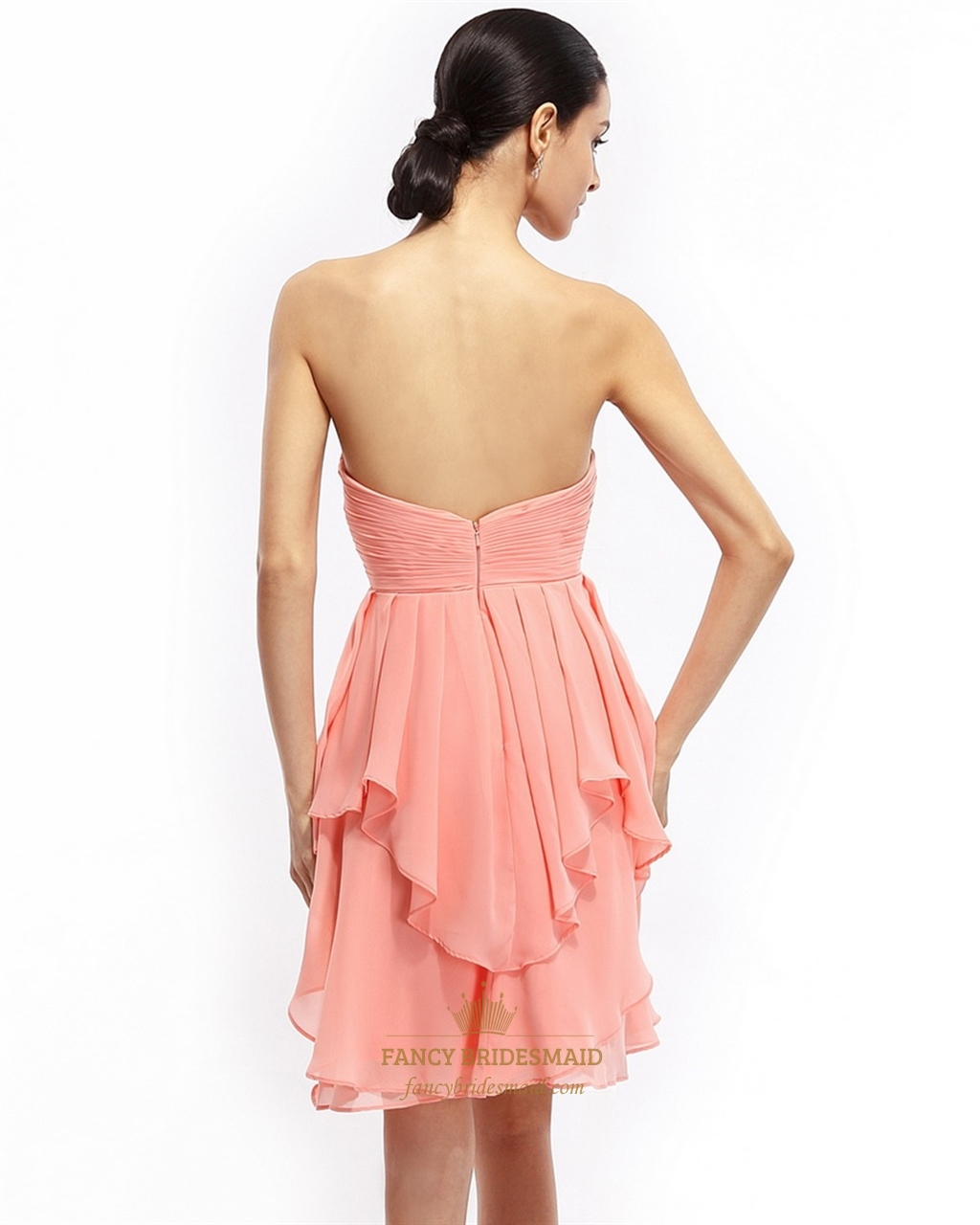 coral aline strapless chiffon short bridesmaid dress with