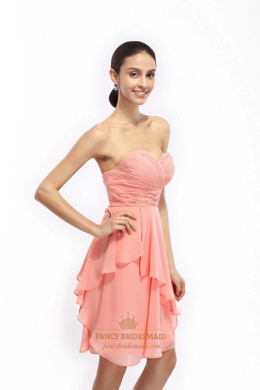 Coral A Line Strapless Chiffon Short Bridesmaid Dress With