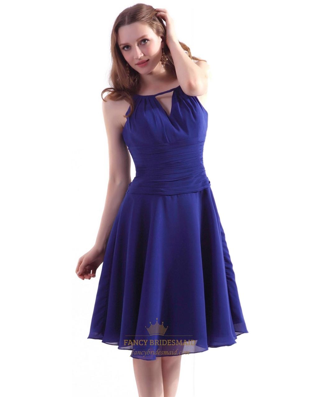 Royal blue chiffon jewel neckline bridesmaid dresses with for Jewel neckline wedding dress