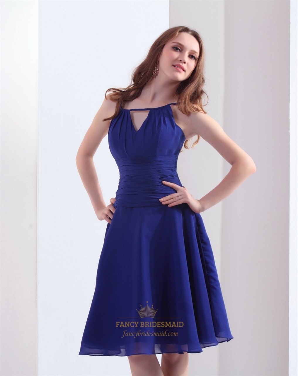 Royal blue chiffon jewel neckline bridesmaid dresses with for Wedding dress with blue detail