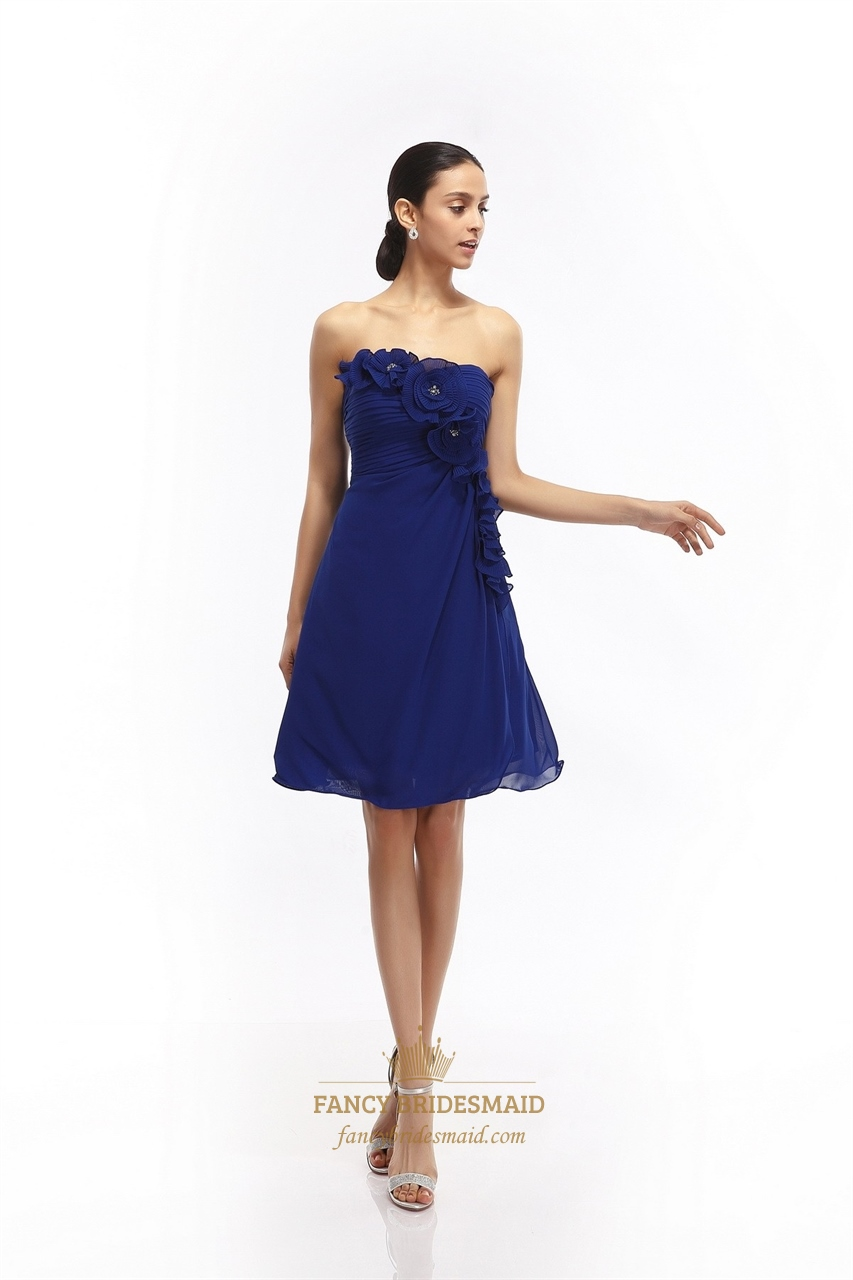 Royal Blue Chiffon Strapless Bridesmaid Dress With Floral ...