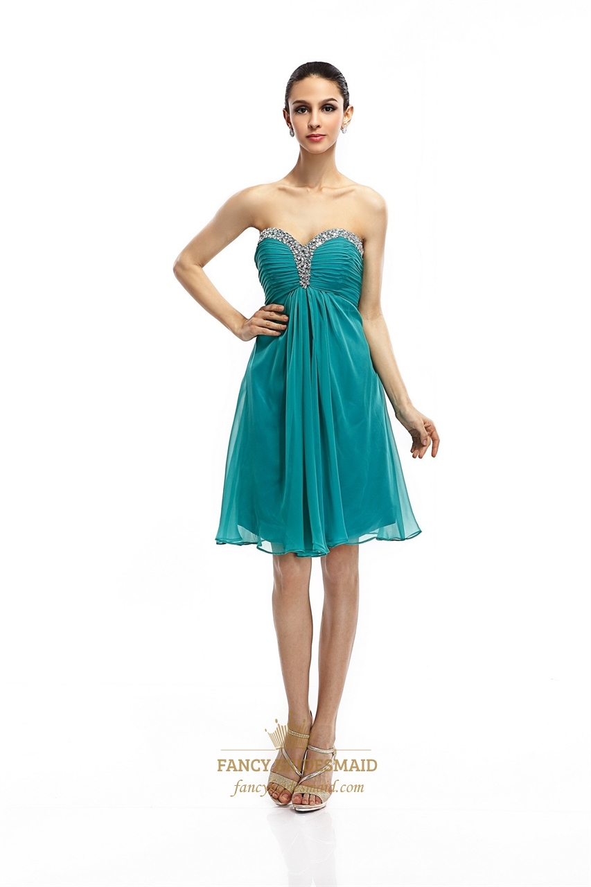 turquoise strapless empire cocktail dresses with ruched