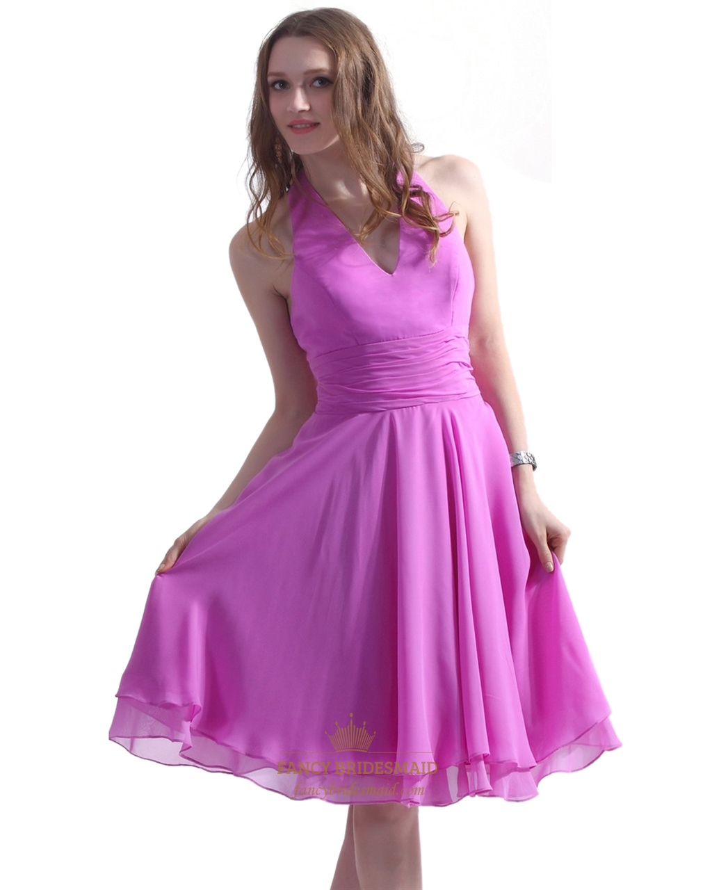 Hot Pink Chiffon Halter Knee Length Bridesmaid Gown With Ruched ...