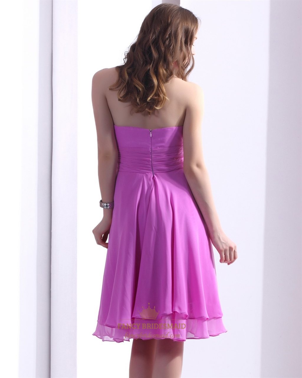 Hot Pink Chiffon Halter Knee Length Bridesmaid Gown With