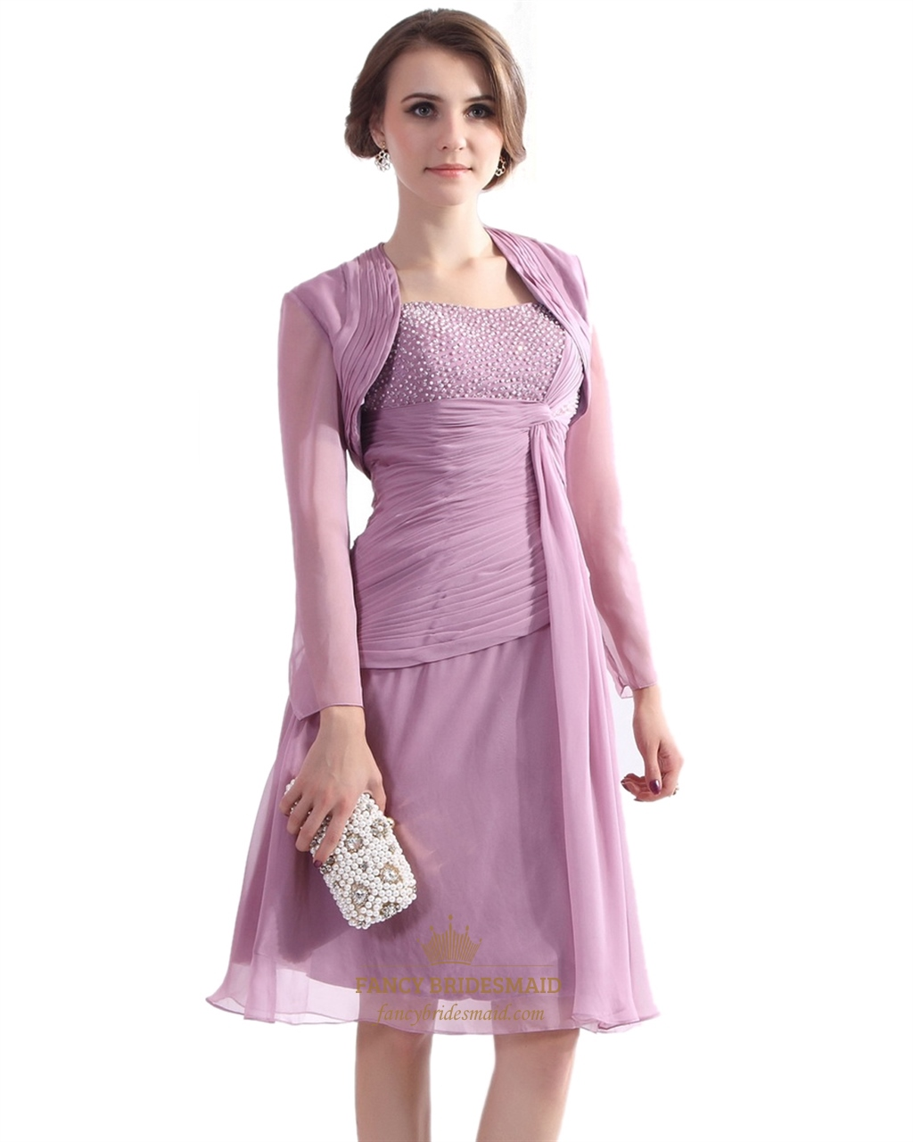 Lilac Chiffon Beaded Top Short Mother Of The Bride Dress