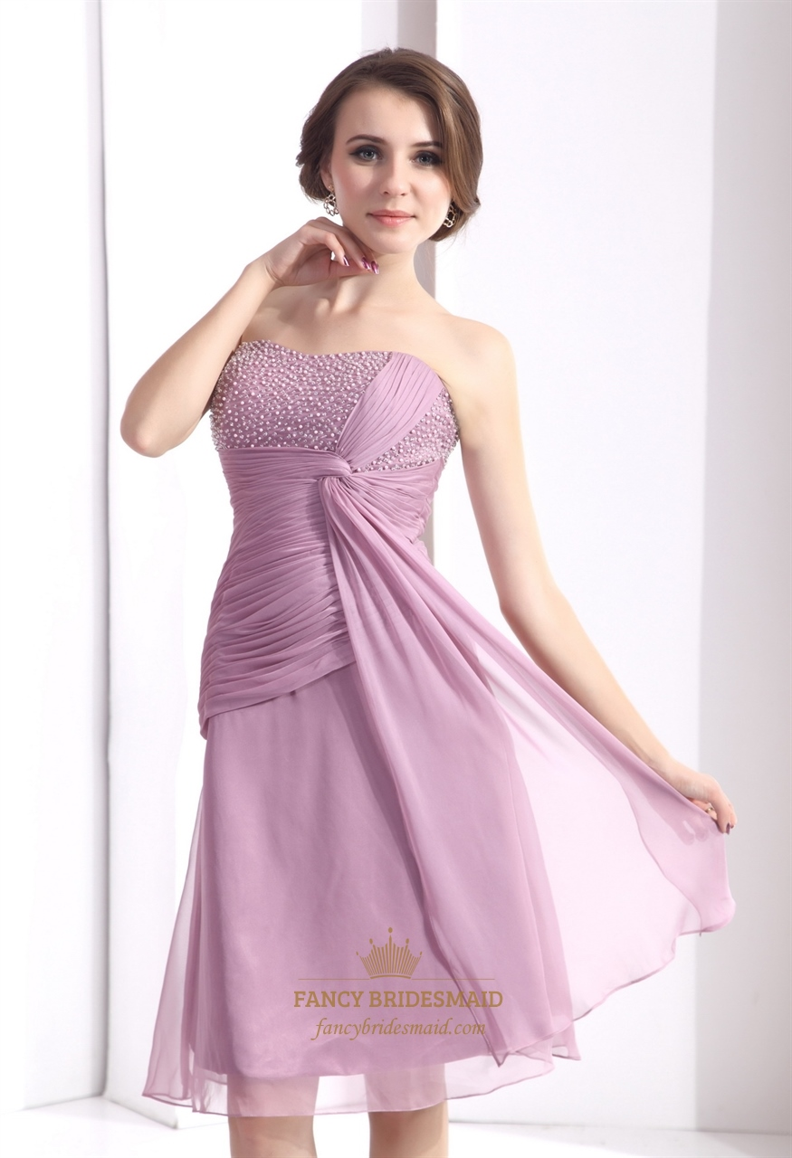 Lilac Chiffon Beaded Top Short Mother Of The Bride Dress With Jacket ...