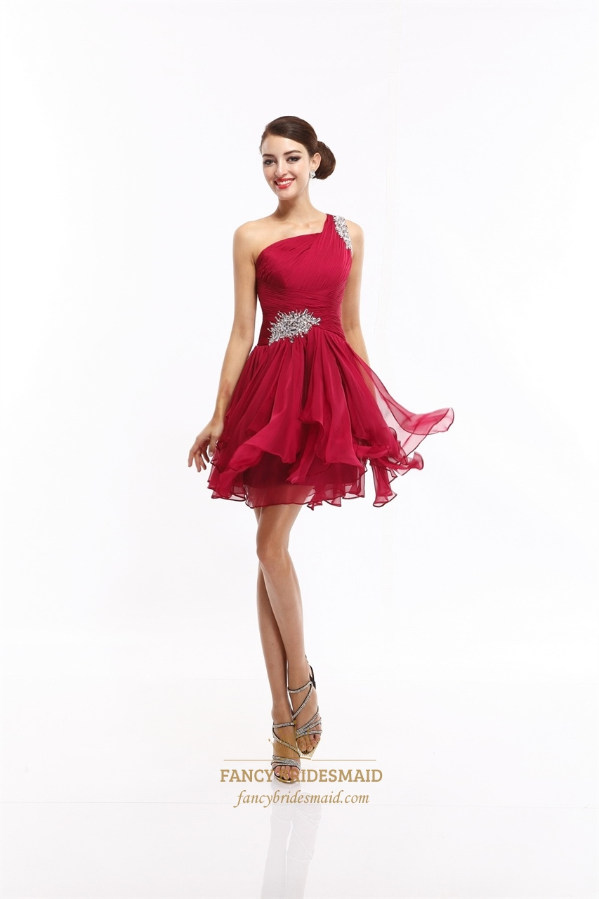 red one shoulder beaded cut out back cocktail dress with