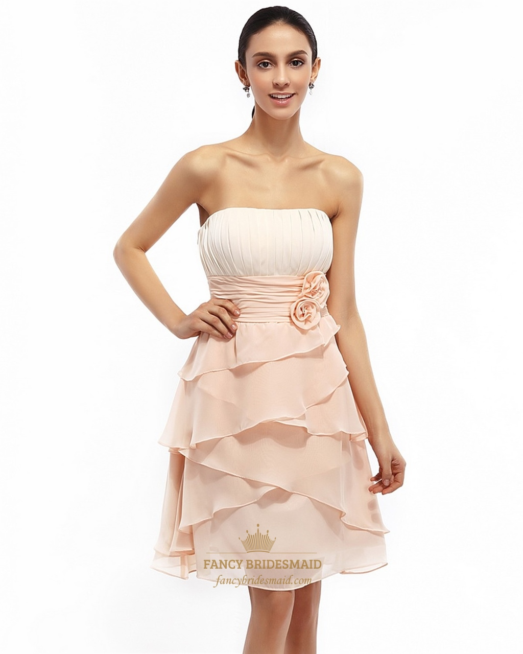 Peach Strapless Short Chiffon Gown With Ruched Waist And Floral ...