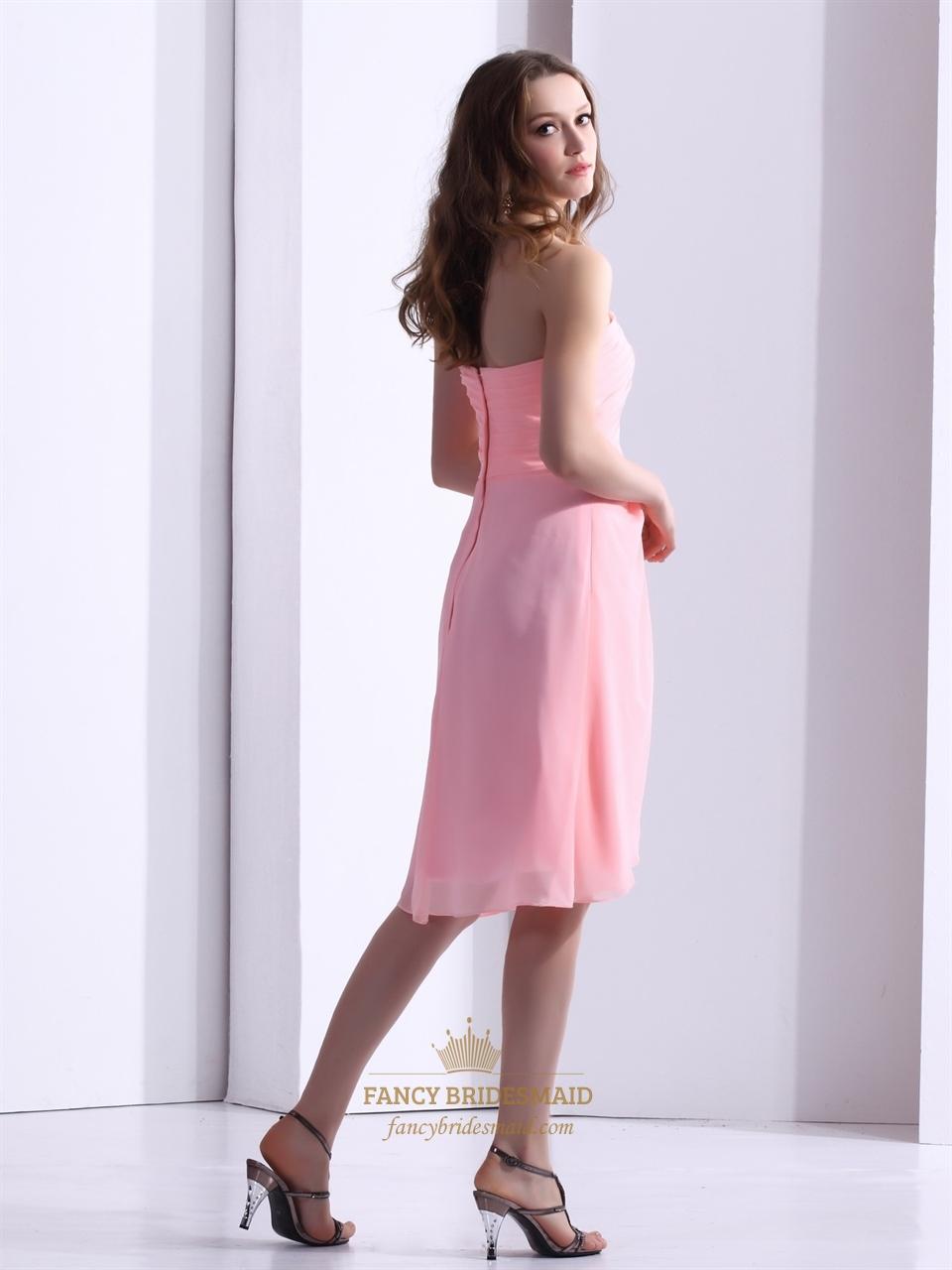 Pink chiffon one shoulder flower strap asymmetrical hem for Wedding dresses asymmetrical hemline