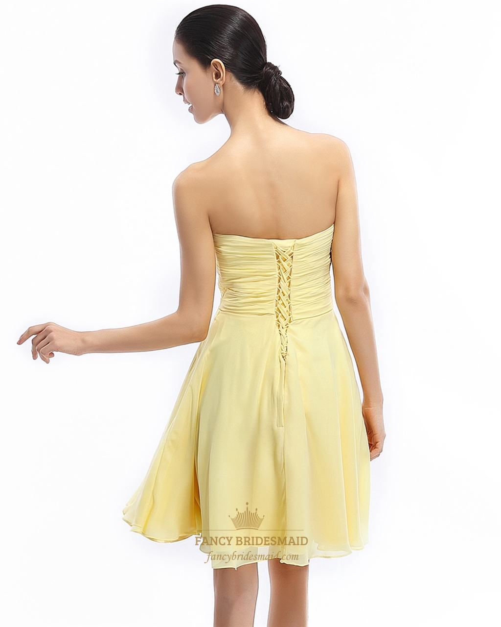 Yellow Strapless Bridesmaid Dresses 98