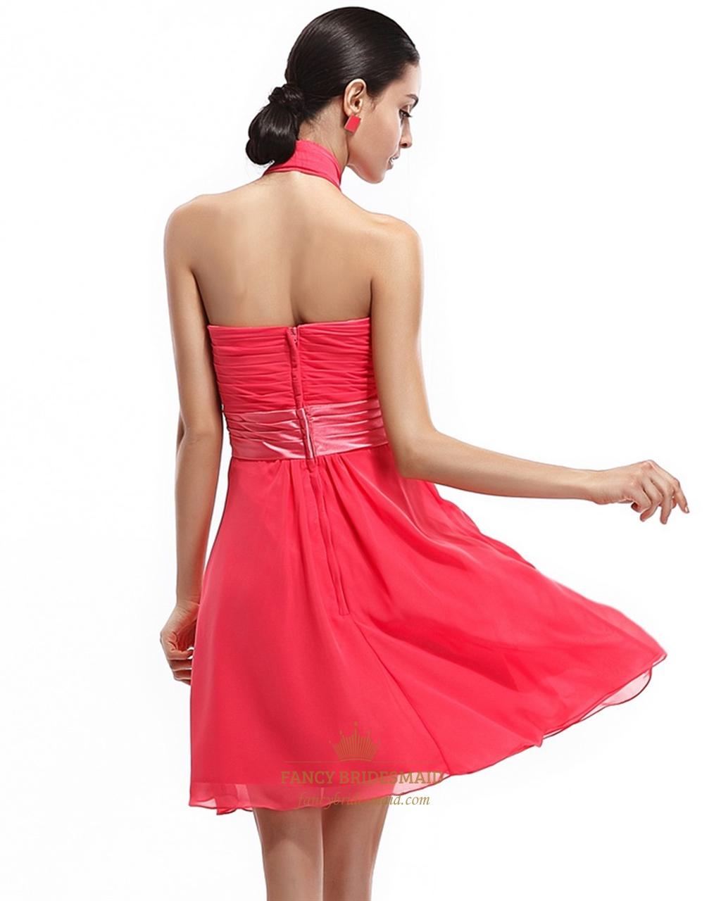 Coral short chiffon halter bridesmaid dress with front for Short halter wedding dress