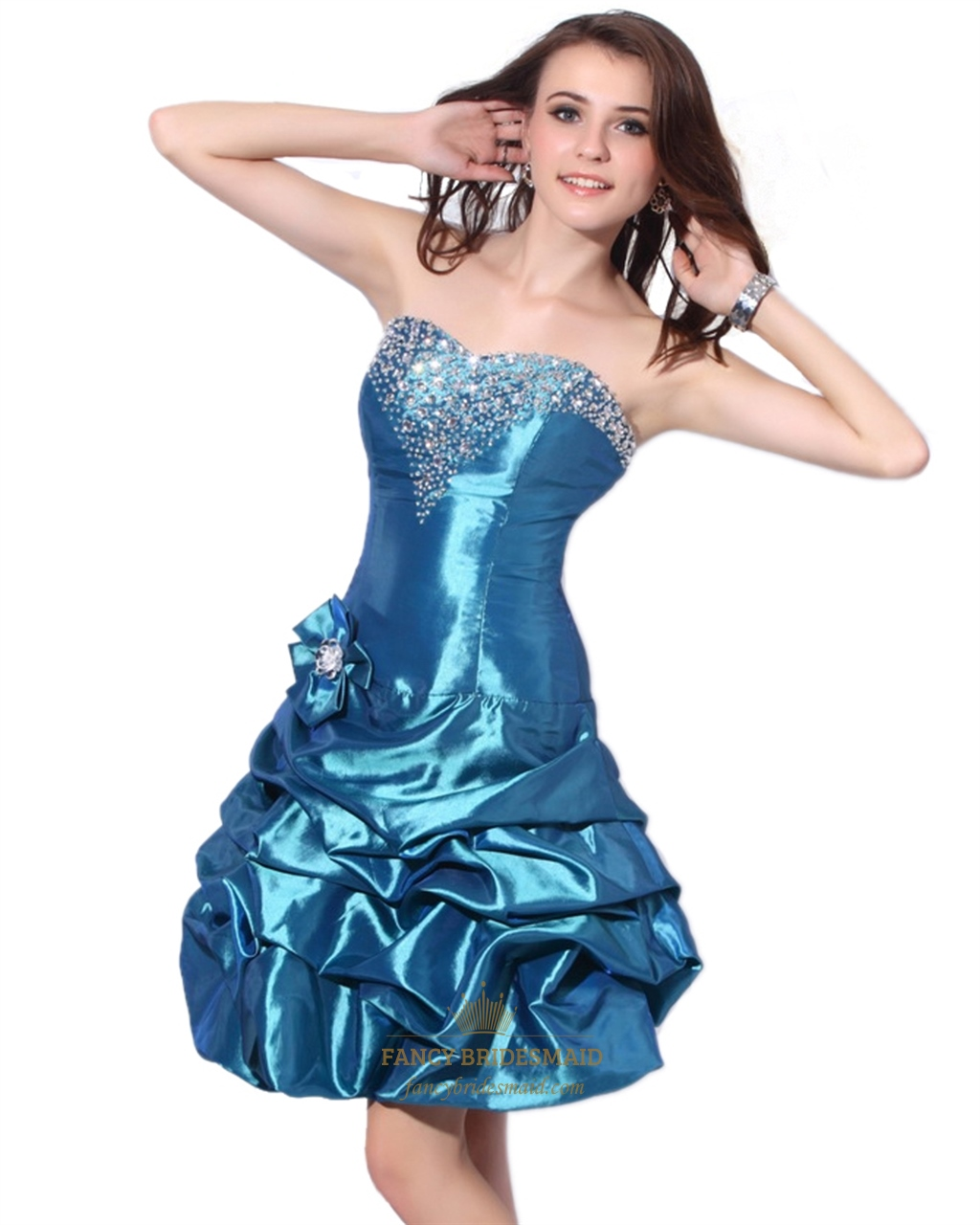Blue strapless beaded taffeta cocktail dress with bubble for Bubble skirt wedding dress
