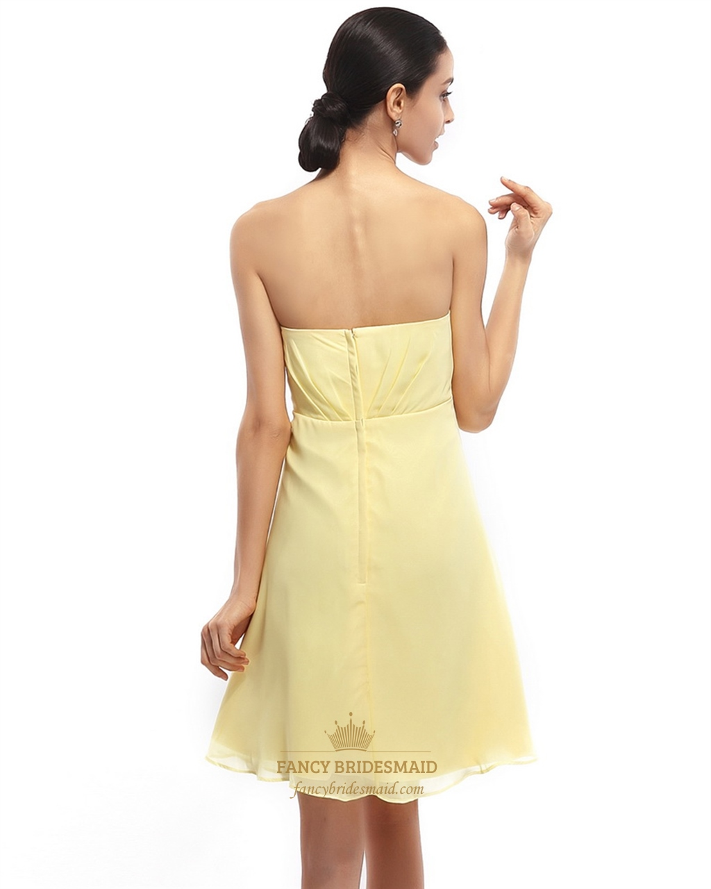 Yellow Strapless Bridesmaid Dresses 10