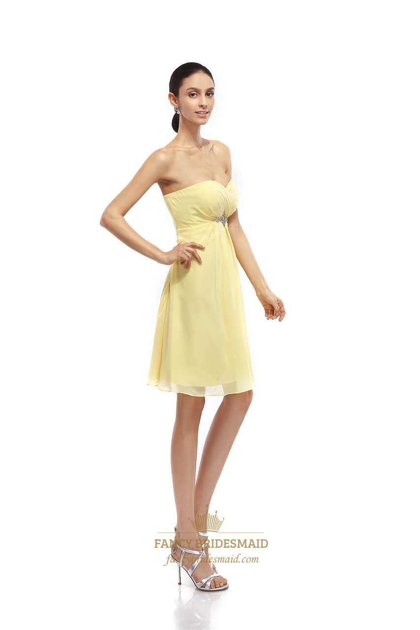 Yellow Strapless Bridesmaid Dresses 70