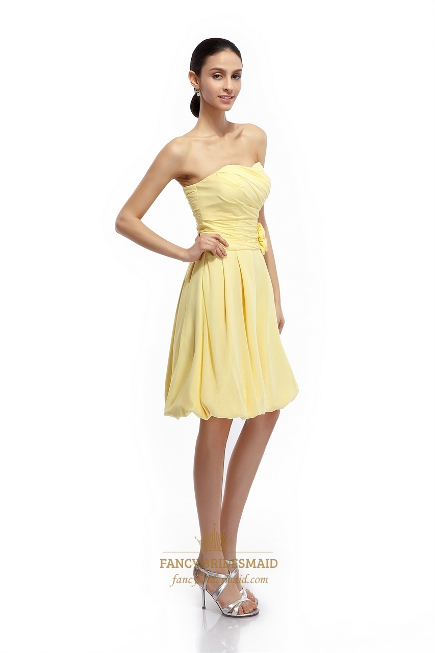 Yellow Strapless Bridesmaid Dresses 90
