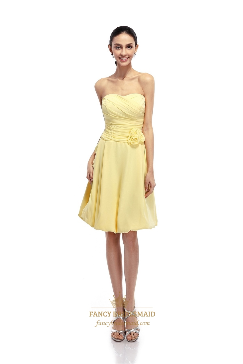 Yellow Strapless Bridesmaid Dresses 19