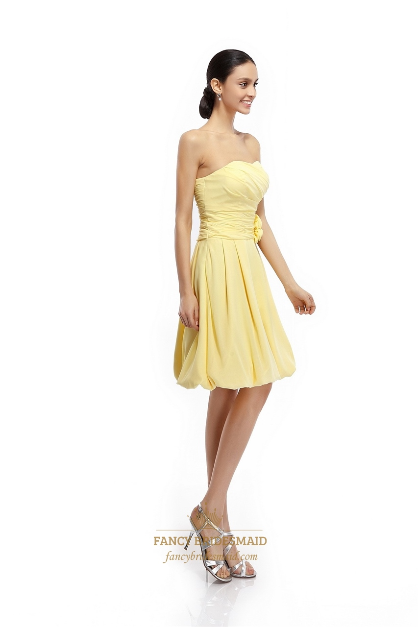Yellow Strapless Bridesmaid Dresses 118