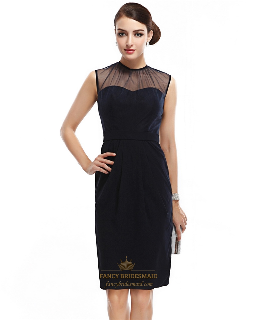 Navy Blue Illusion High Neck Sleeveless Knee Length Cocktail Dress ...