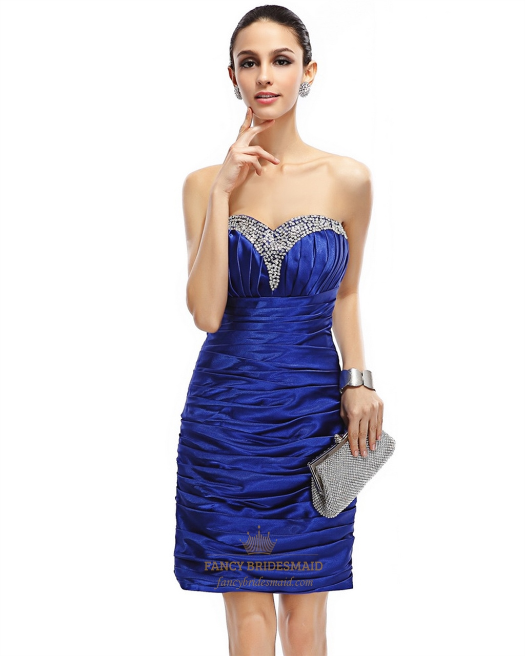 Royal Blue Strapless Beaded Neckline Sheath Cocktail Dress ...