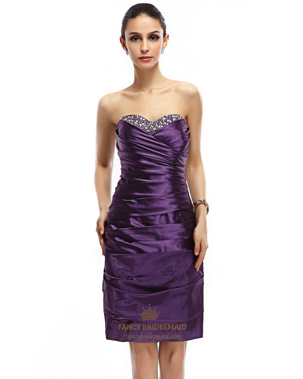 0062a30738 Purple Strapless Embellished Ruched Sheath Knee Length Cocktail Dress SKU  -NW737