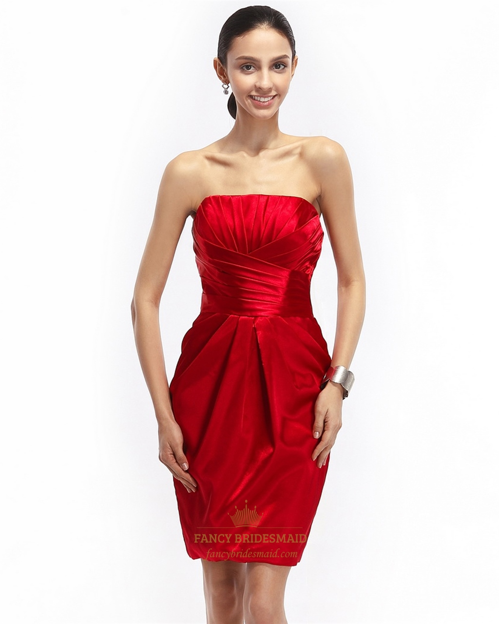 c575e21245 Red Pleated Strapless Satin Short Cocktail Dress With Obi Detail SKU -NW738