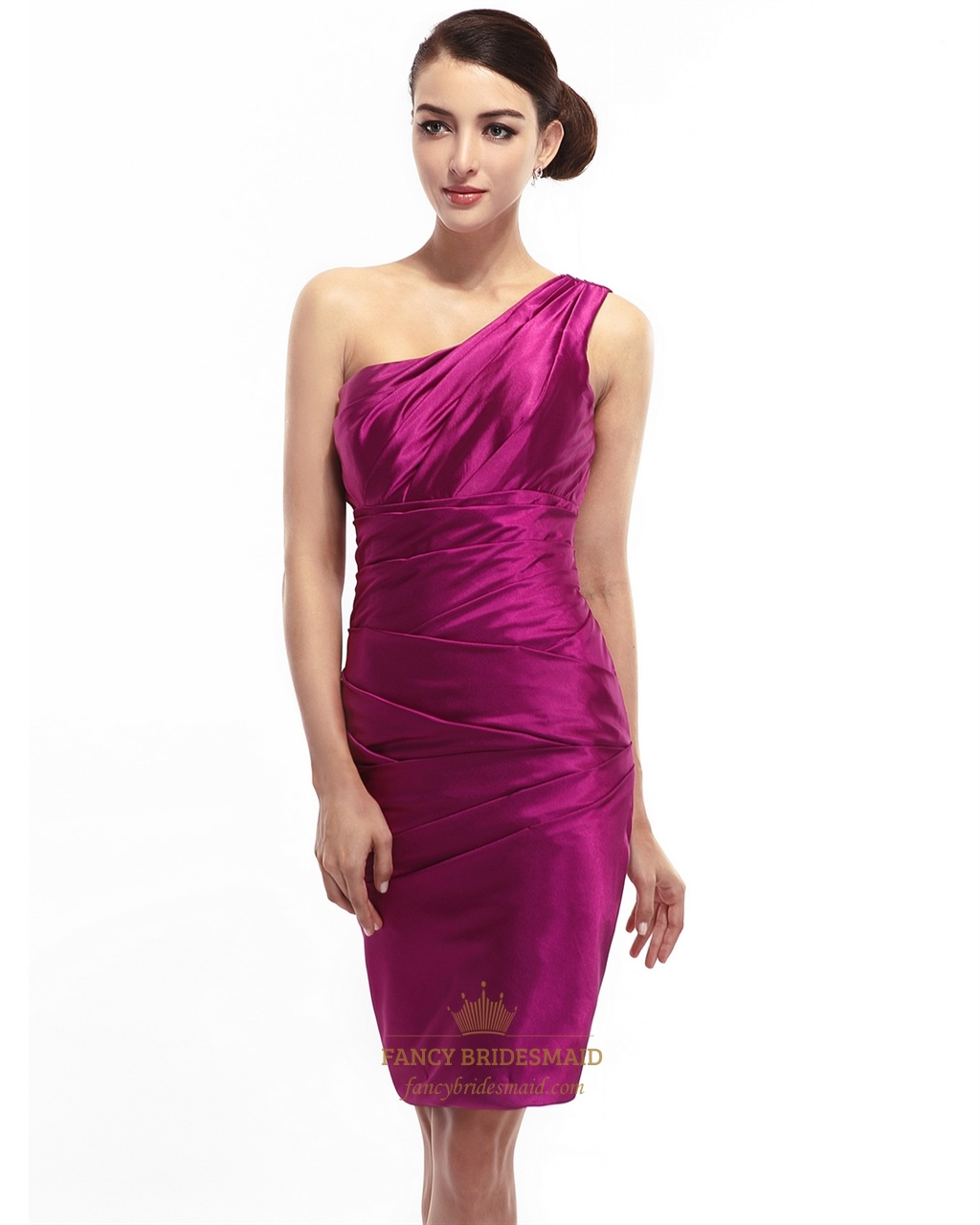 ebba644c1b Hot Pink One Shoulder Knee Length Sheath Ruched Satin Cocktail Dress SKU  -NW741
