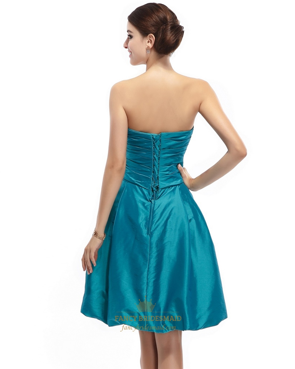 Teal strapless taffeta ruched short bridesmaid dress with for Strapless taffeta wedding dress