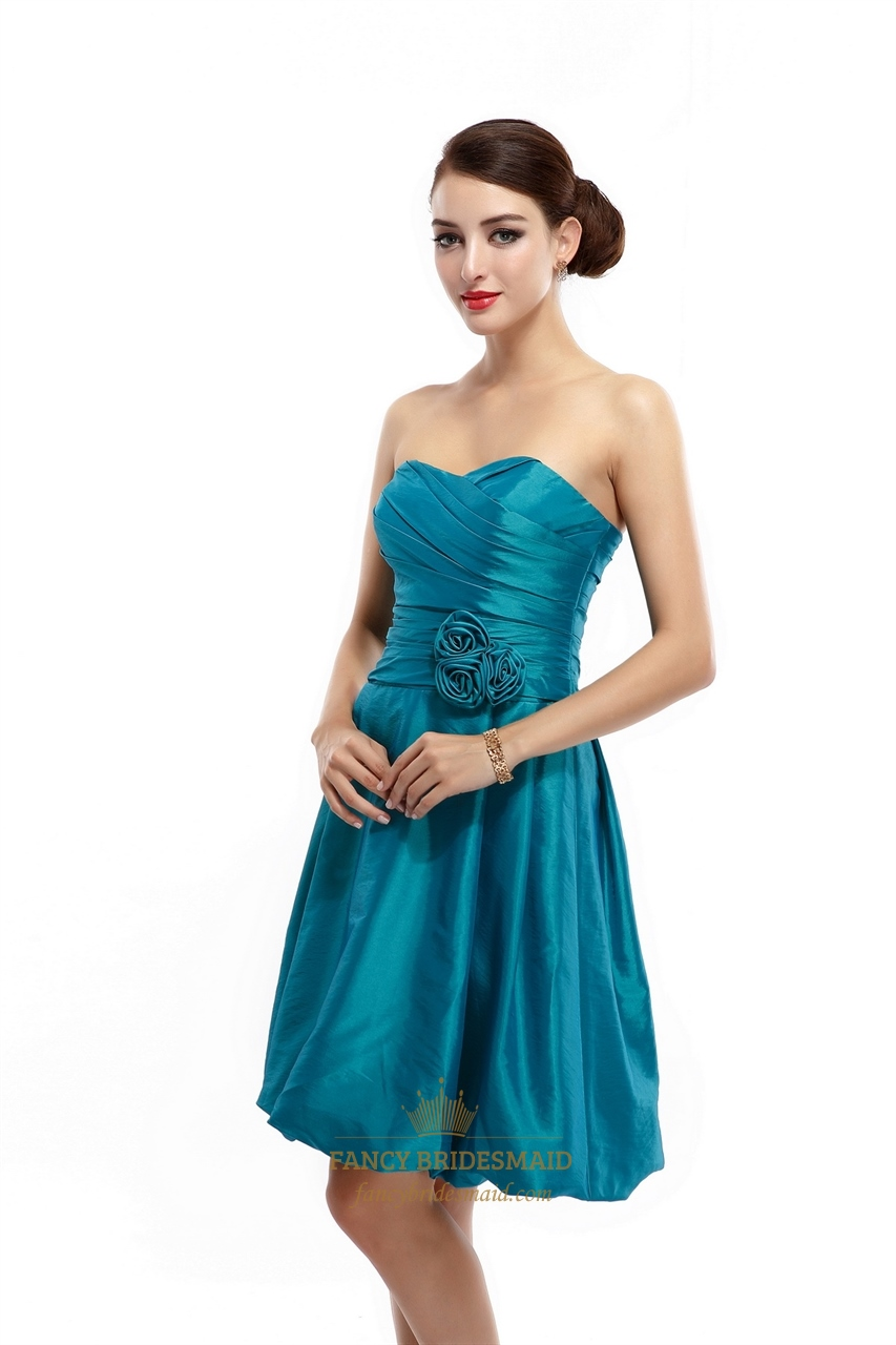 Teal strapless taffeta ruched short bridesmaid dress with for Bubble skirt wedding dress