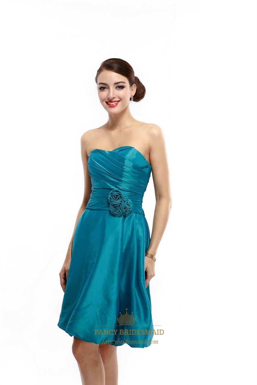 Teal Strapless Taffeta Ruched Short Bridesmaid Dress With Bubble ...