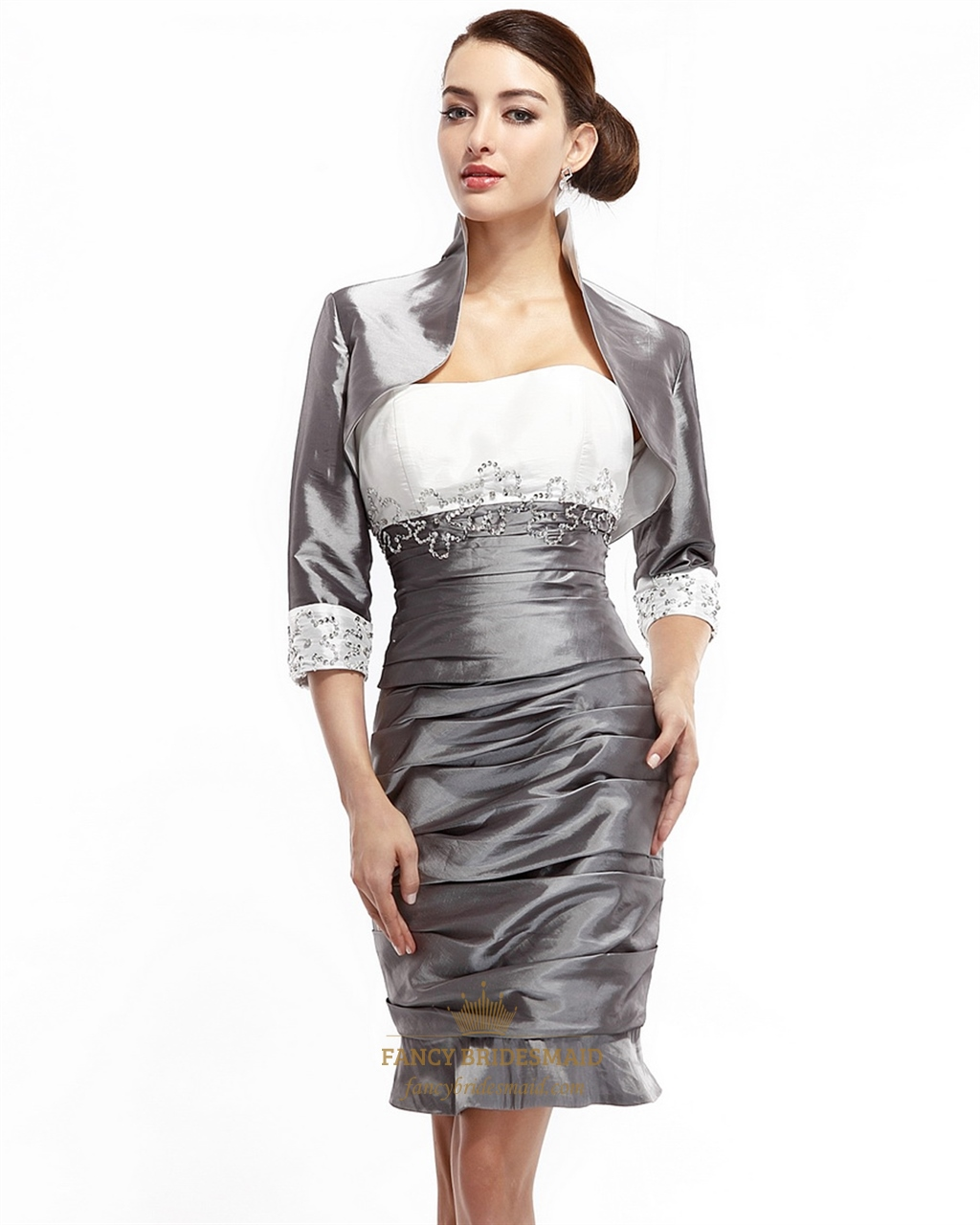 Mother Of The Bride Dresses: Grey Beaded Sheath Short Mother Of The Bride Dresses With