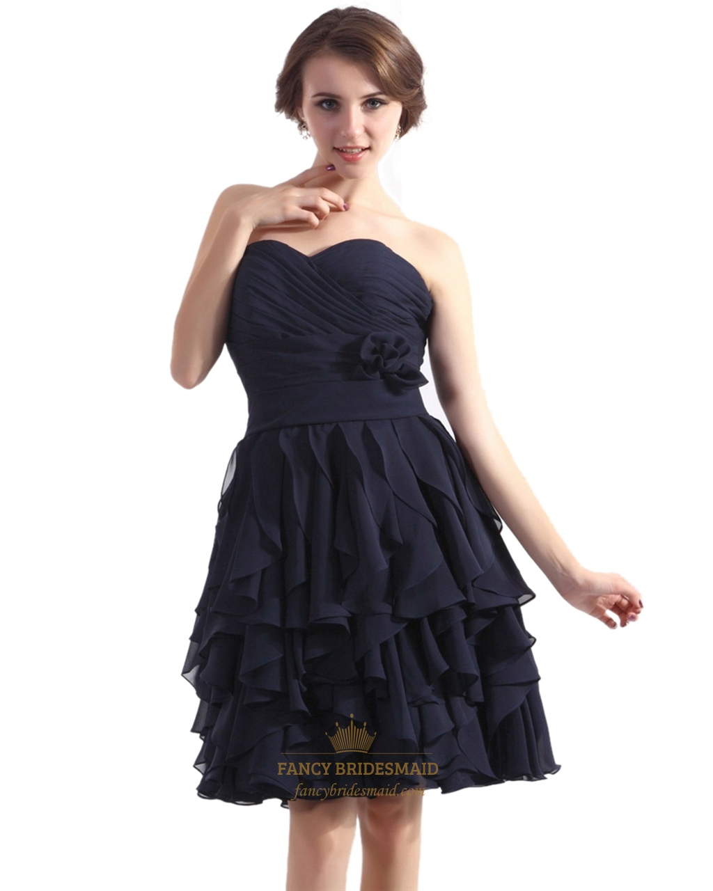Chiffon Dressing Gown: Navy Blue Strapless A-Line Ruffle Skirt Chiffon Gown With