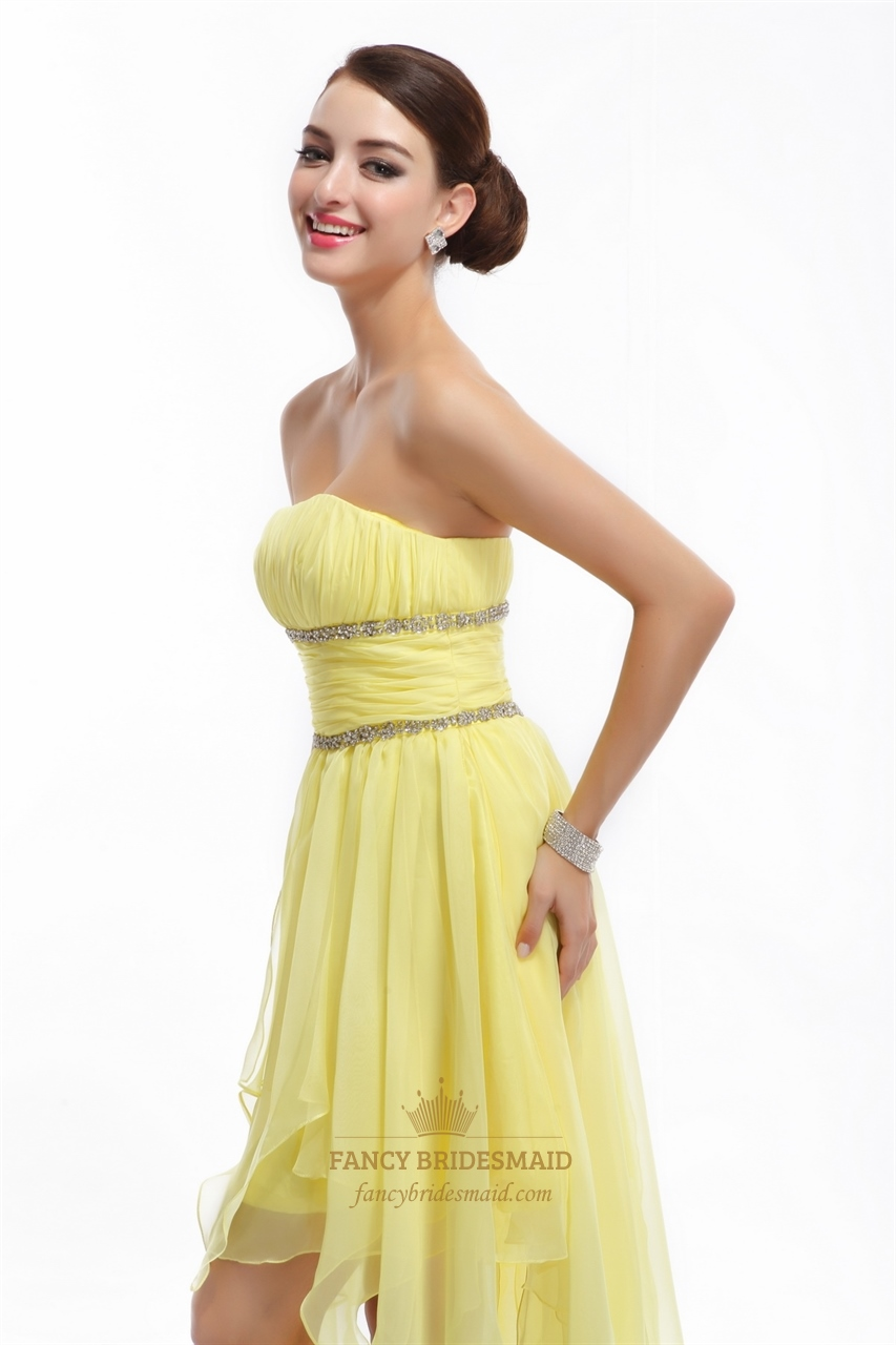 yellow strapless chiffon beaded prom dress with high low