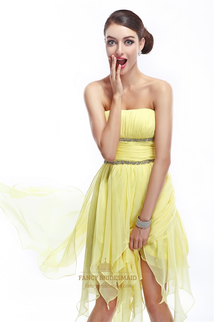 Yellow Beaded Prom Dresses 95